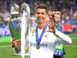 KIEV, UKRAINE - MAY 26:  Cristiano Ronaldo of Real Madrid lifts The UEFA Champions League trophy following his sides victory in during the UEFA Champions League Final between Real Madrid and Liverpool at NSC Olimpiyskiy Stadium on May 26, 2018 in Kiev, Ukraine.  (Photo by Laurence Griffiths/Getty Images)
